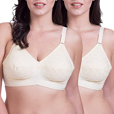 2a0473626c4fb Rajnie Plus Size Embroidered Beige Cotton Bra - (Pack of 2)  Amazon.in   Clothing   Accessories