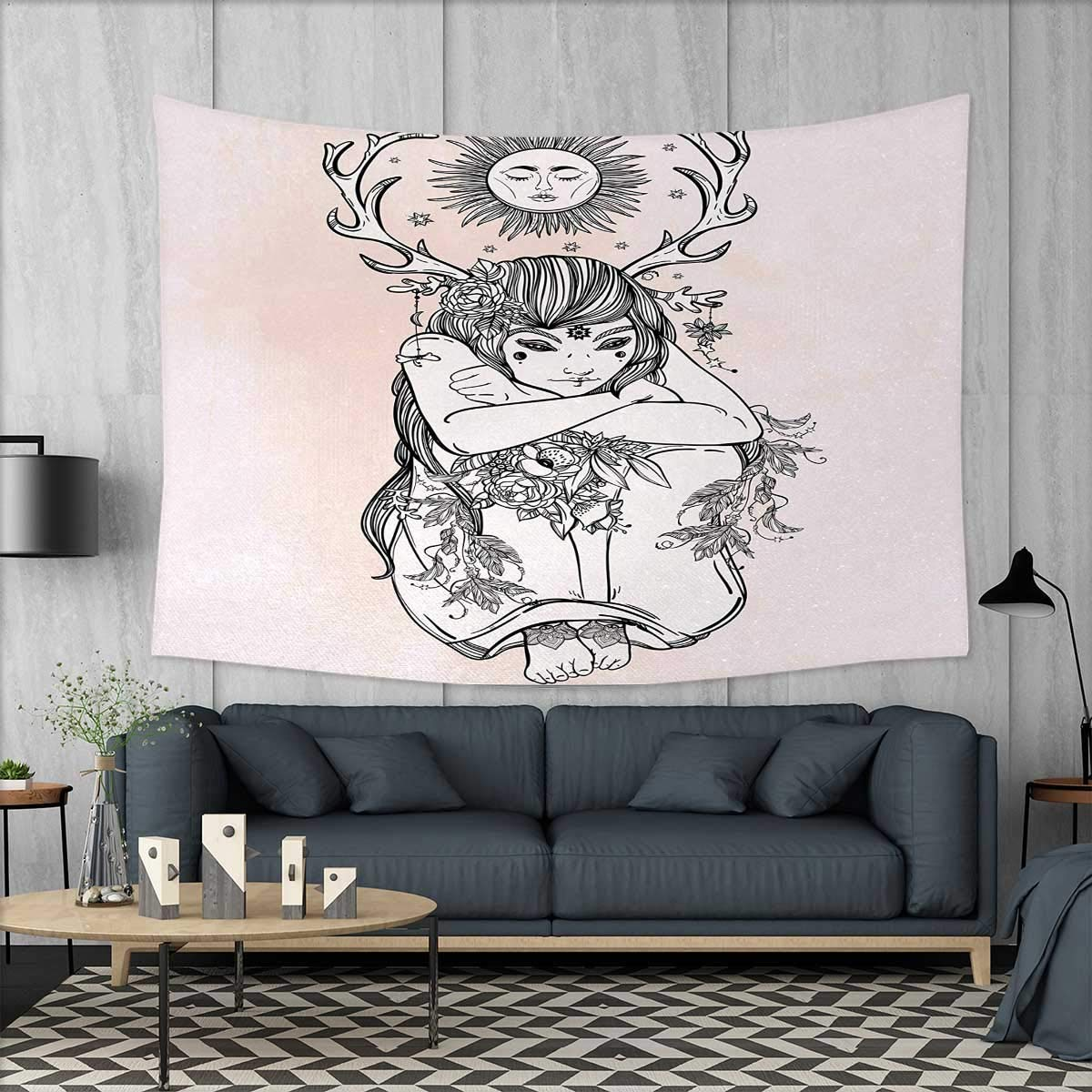 Anniutwo Occult Dorm Decor Image of Naked Girl Under The Sun Sublime Fairy of Nature Cosmos Nymph Deity Art Tapestry Table Cover Bedspread Beach Towel W71 x L60 (inch) Pink Black