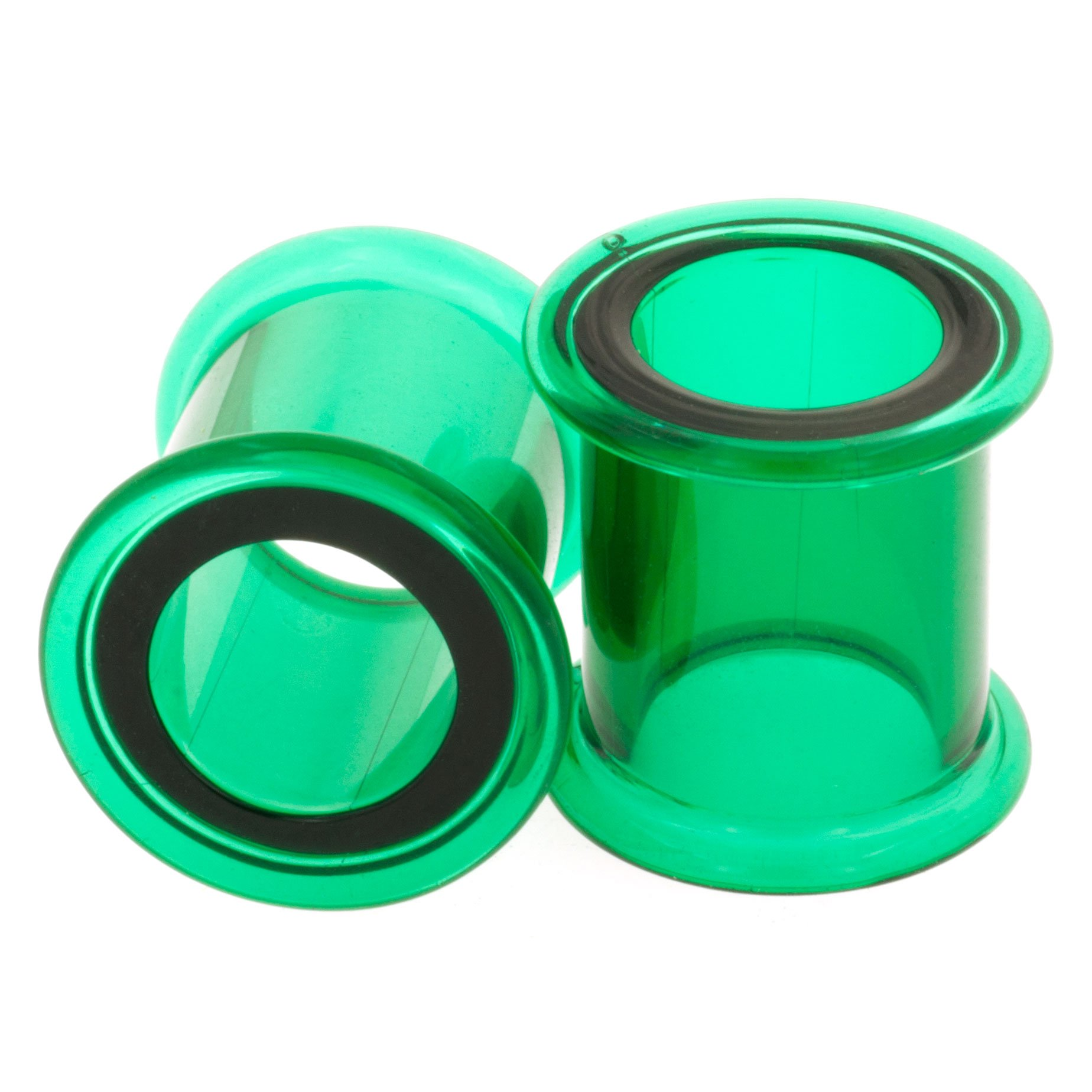 Pair of Glass Double Flared Eyelets: 0g, Emerald