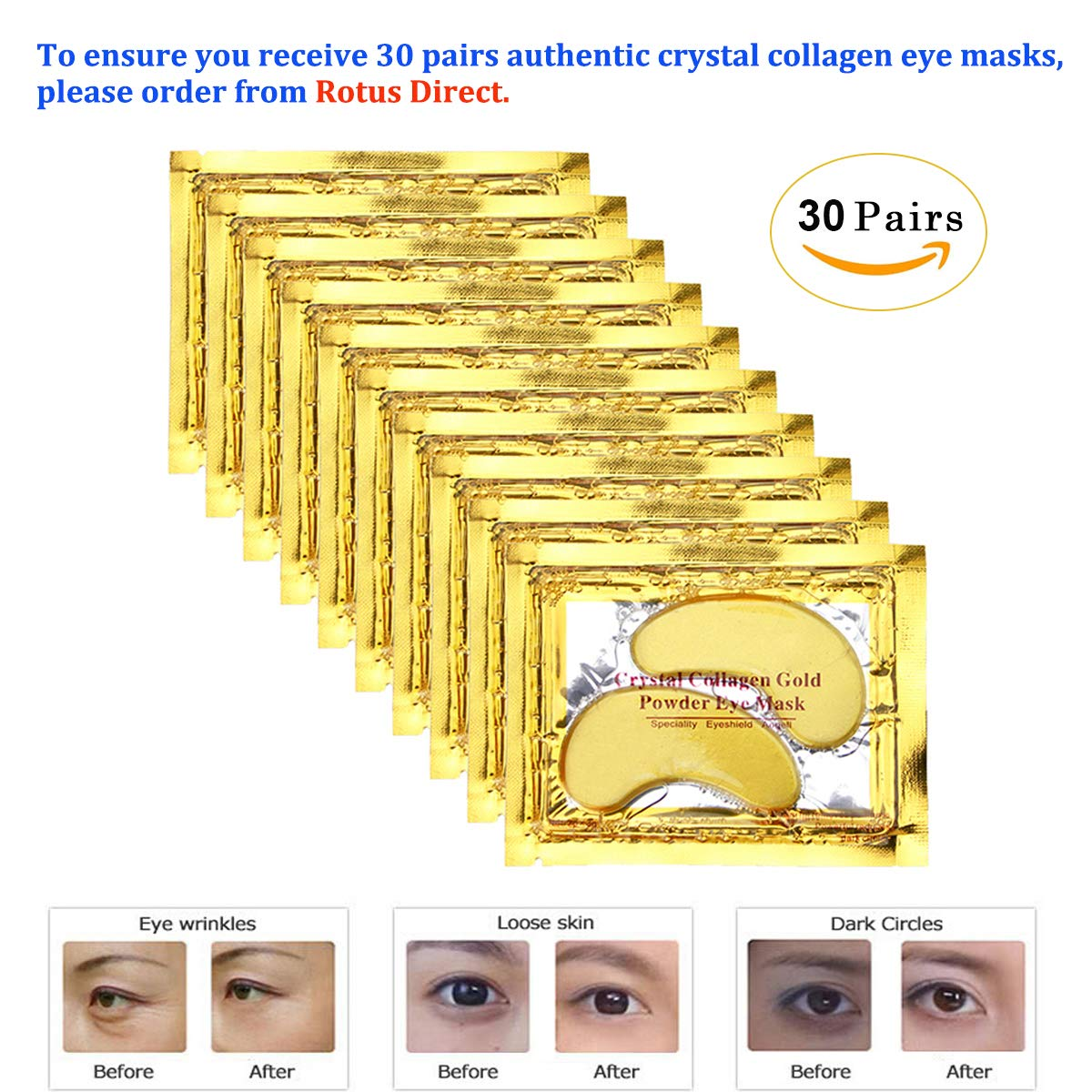 30 paia Gold Eye Mask Power Crystal gel collagene maschere, Great for anti invecchiamento, occhiaie & Puffiness Ajuhai