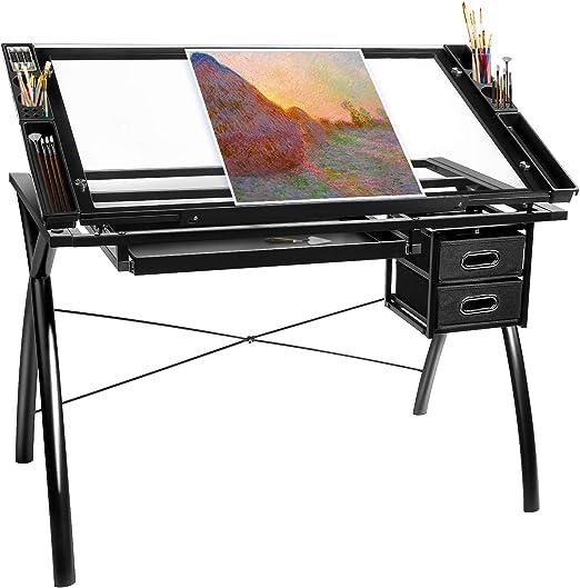 BAHOM Mesa de Dibujo Ajustable con Parte Superior de Cristal ...