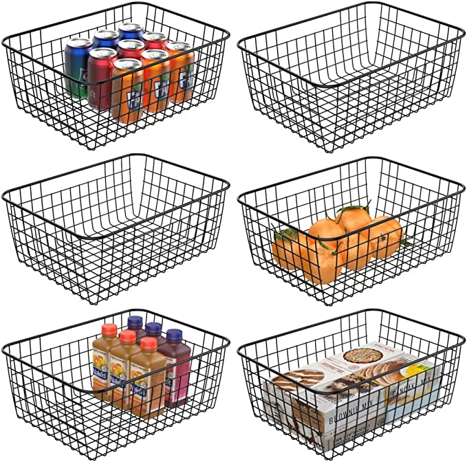 Wire Baskets For Storage, iSPECLE Metal Wire Food Organzier Storage Baskets Organizing Bins with Handles for Kitchen Cabinets Pantry Bathroom Laundry Room Closet Garage - 6 Pack best pantry organization systems