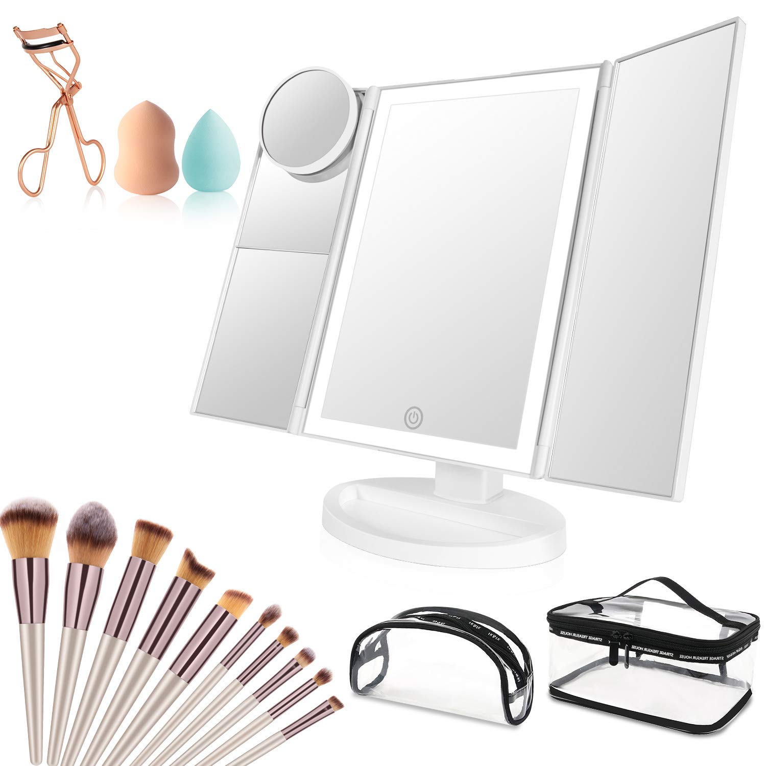 Makeup Vanity Mirror with Lights, 36 LED Trifold Cosmetic Makeup Mirror, 2x 3x 10x Magnification 180° Rotation Dual Power Supply 10 Makeup Brushes Set 2 Makeup Sponges 2 Cosmetic Bags 1 Eyelash Curler