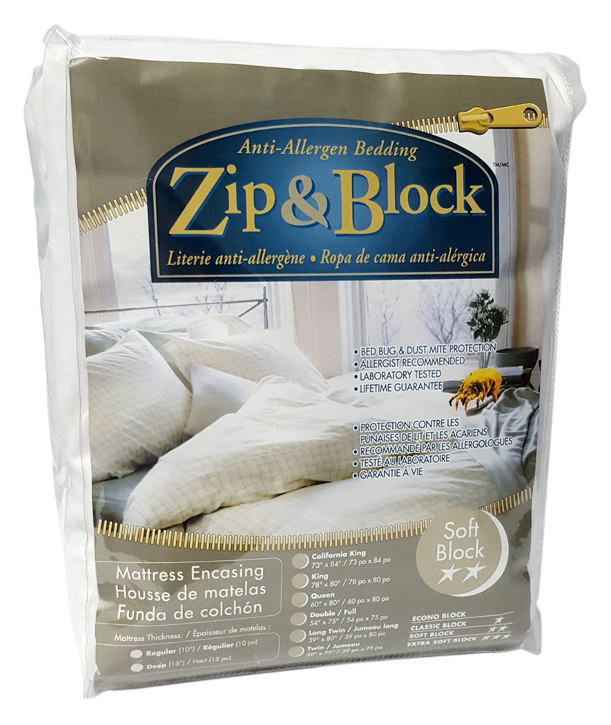 Zip and Block  Soft Block Anti Allergen Bed Bug Proof Breathable Waterproof Mattress Encasing, White, King by Zip and Block