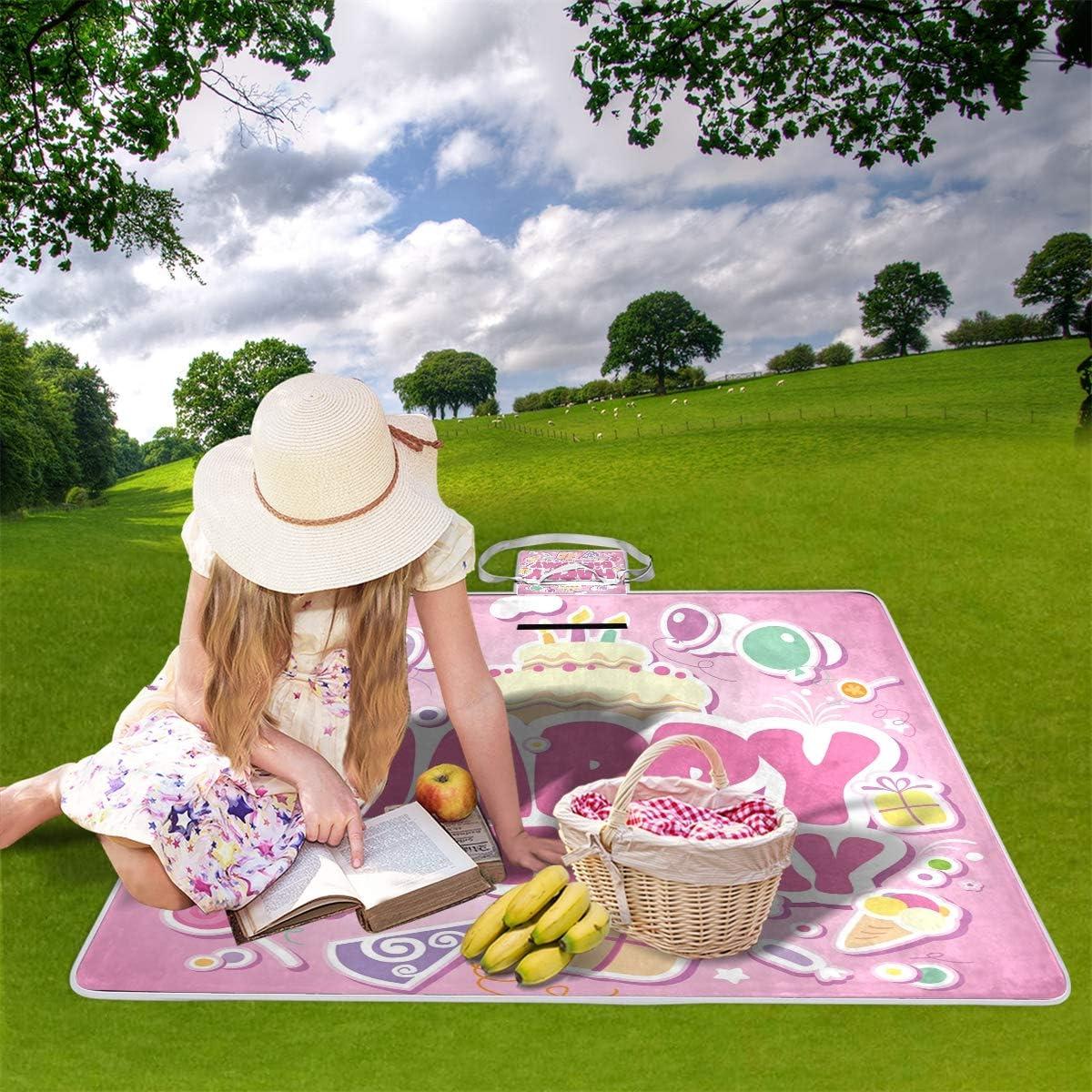 XINGAKA Coperta da Picnic Tappetino Campeggio,Stampa di Compleanno Patchwork Festa,Giardino Spiaggia Impermeabile Anti Sabbia 1