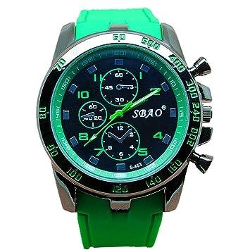 Tongshi Acero inoxidable Sport Luxury cuarzo analógico Moderno hombres reloj de pulsera de moda (verde): Amazon.es: Relojes