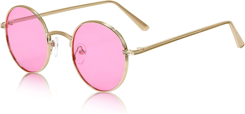Small John Lennon Sunglasses Round Hippie Hipster Retro Gold Frame UV 100/% New