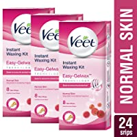 Veet Full Body Waxing Kit for Normal Skin - 8 Strips (Pack of 3)