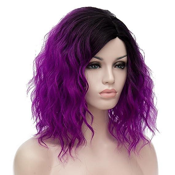 ATAYOU® Short Curly Ombre Sintético Cosplay Bob Pelucas con Raíces Oscuras para Mujer Disfraz con 1 Gorra Libre de Peluca (Púrpura): Amazon.es: Belleza