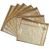 SHOPATHON INDIA Polypropylene and Synthetic Golden Dots Saree Cover - Set of 7