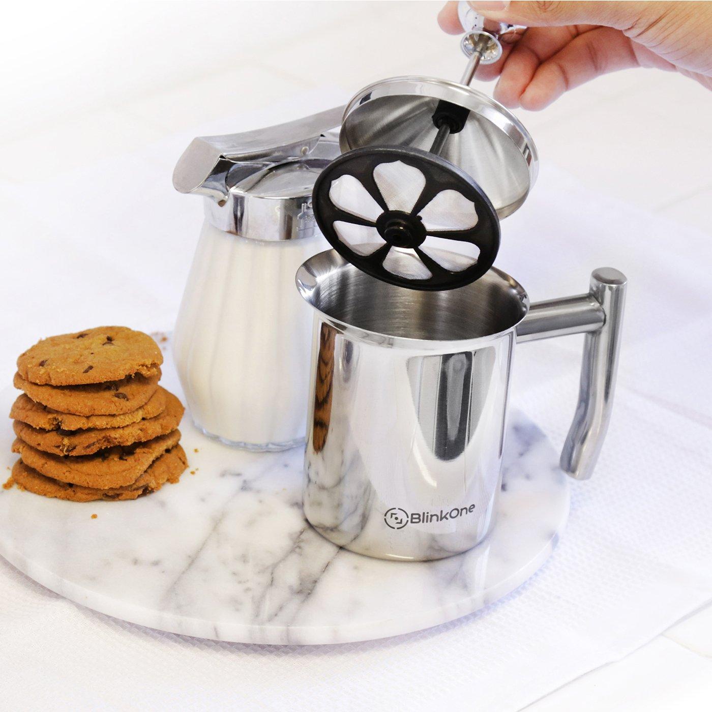 Vaporera y funciona con manual Foamer espumador de leche blinkone: doble malla; respetuoso con el café (14 oz)): Amazon.es: Hogar