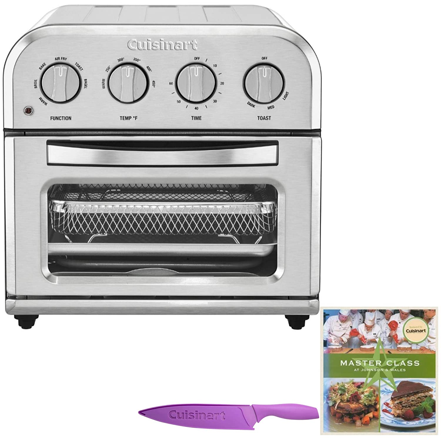 Cuisinart TOA-28 Compact AirFryer Toaster Oven Includes Knife and Cookbook Bundle (3 Items)