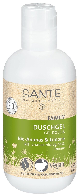 SANTE Naturkosmetik Duschgel Bio-Ananas & Limone, 950ml Familiengröße mit Pumpspender, Fruchtig-frischer Duft, Vegan 42026