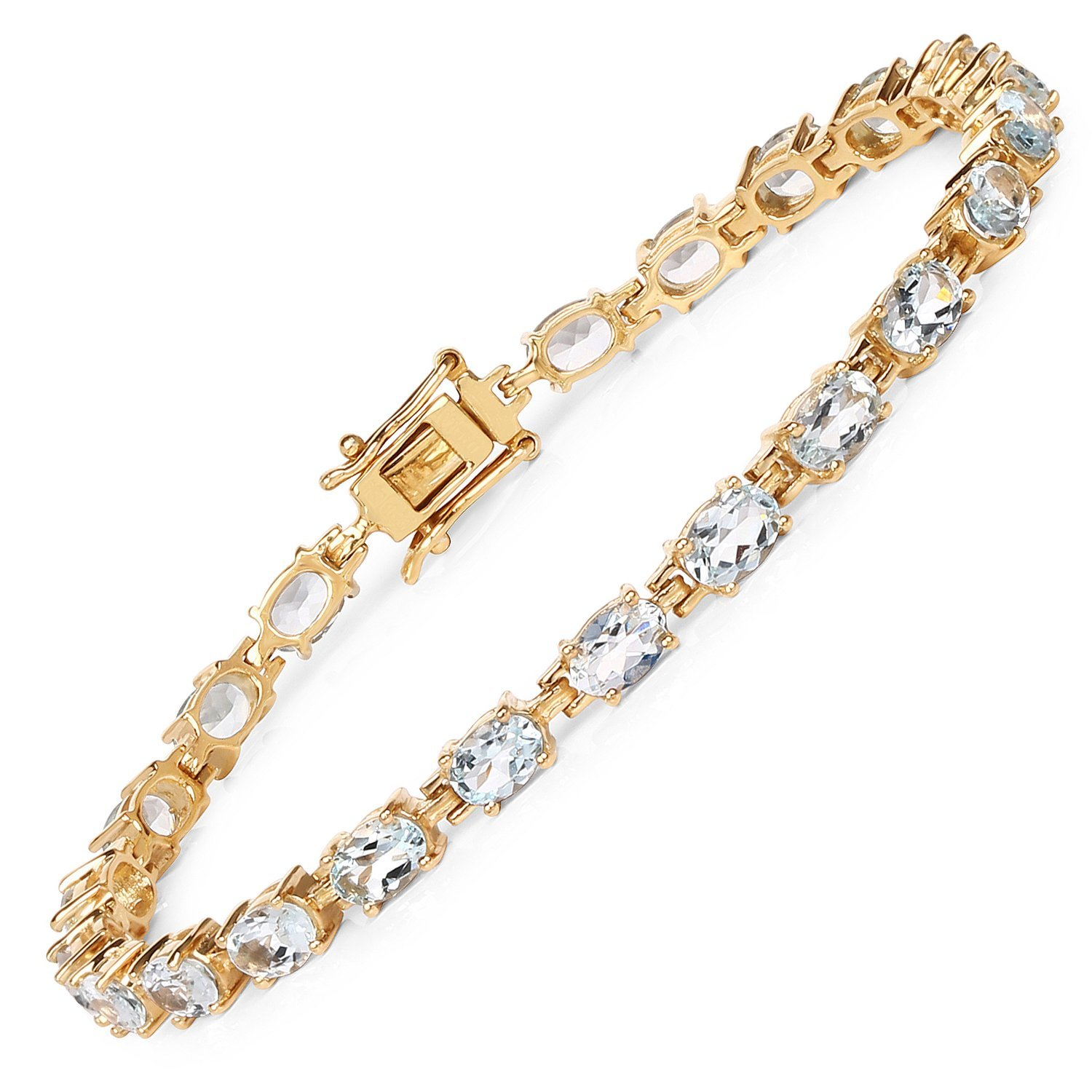 14K Yellow Gold Plated 7.92 Carat Genuine Aquamarine Solid .925 Sterling Silver Tennis Bracelet