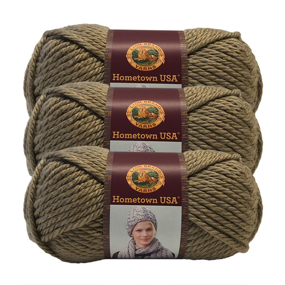 (3 Pack) Lion Brand Yarn 135-123Y Hometown USA Yarn, Hoboken Honey
