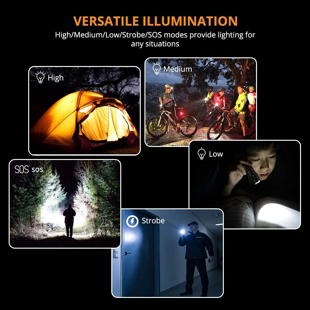 Running Pack of 2 LED Handheld Flashlight Adjustable Focus Tactical Flashlight 5 Modes Zoomable Dog Walking and More IPX5 Waterproof Torch Suit for Camping LED Torch Cycling