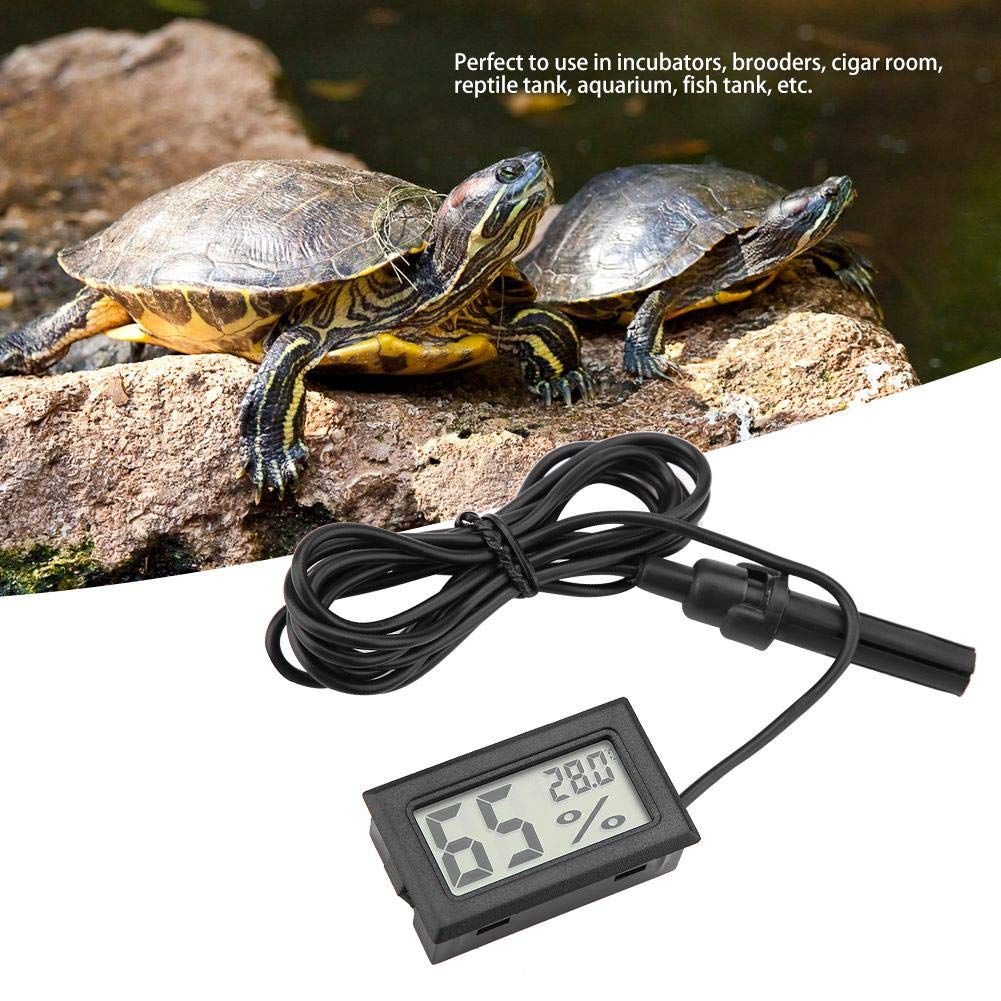HEEPDD Embedded Mini Thermometer Hygrometer LCD Display Humidity Temperature Monitor with External Probe for Incubators Brooders Reptile Tank Aquarium Fish Tank
