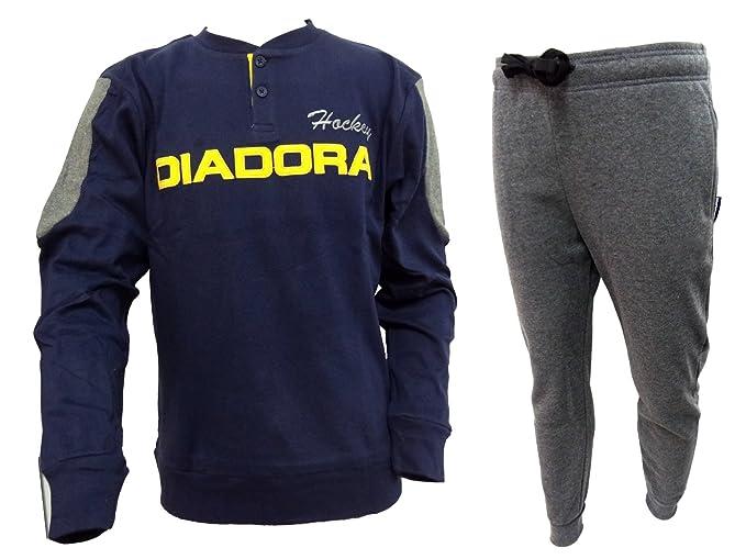 02b3a6e8e4ae Diadora pigiama uomo lungo serafino caldo cotone interlock art. 60935 (XL,  navy)