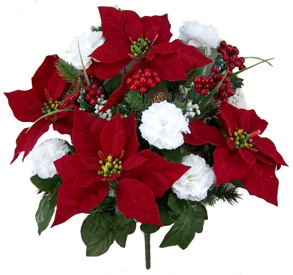 silk flower arrangements admired by nature artificial flower bush, carnation poinsettia - rd/wt