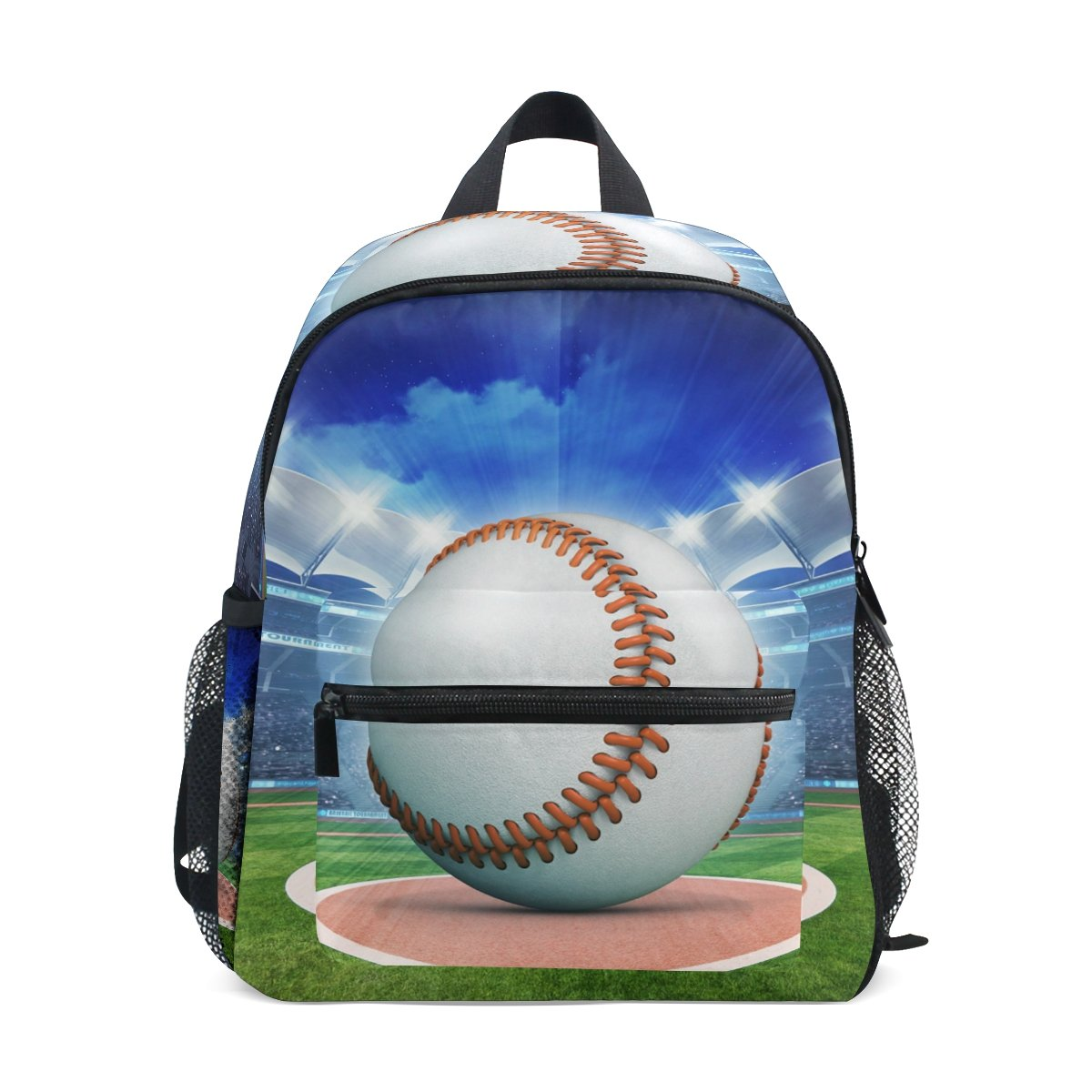 キッズバックパックバッグ 野球 ブルースポーツテーマ 3Dイラスト 子供 女の子 男の子用   B07DJ66J5S