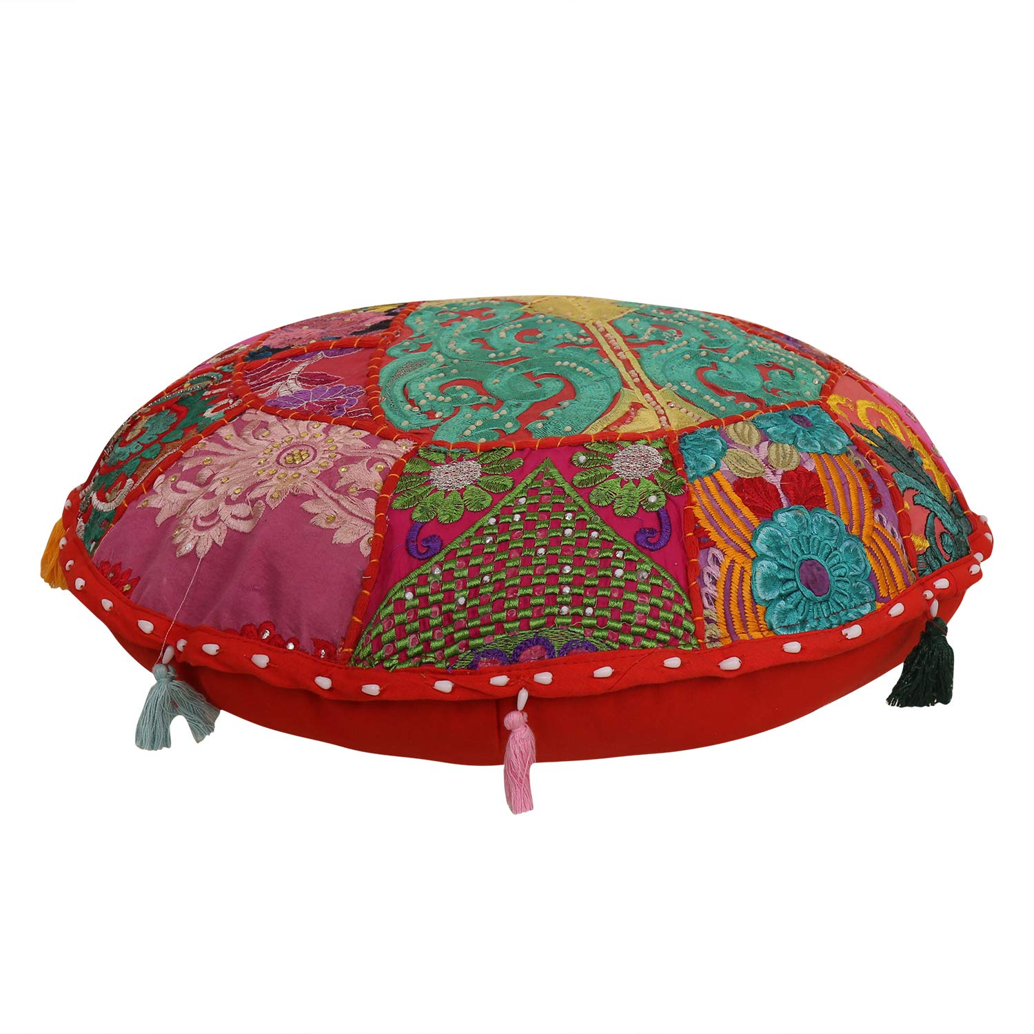 16'' Floor Pillow Cover Throw Cushion Cover Cotton Footstool Traditional Patchwork Embroidered Decor Seating Floor Tuffet Seat Pouf,cushion cover khambadiya Indina Cushion Cover Set Round Floor Cushion