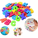 MEHAC Bathtub Foam Letters & Numbers + 2 x Dry Toy Organizer + 5 Strong Hooks | Eco-Friendly Educational Game Soft…