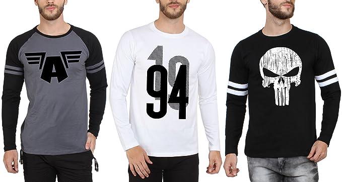 dbe8408b74cb SAYITLOUD Men's Printed Round Neck T-Shirts (Pack of  3)(C021994WHITE40PUNISHERBLACKWT33CADGBK-