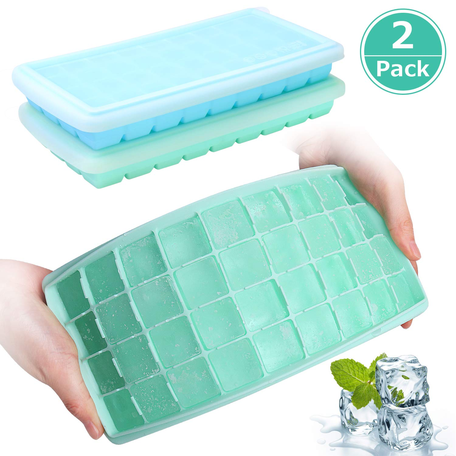 Ice Cube Trays with Lids, GDREAMT 2 Pack Silicone Ice Cube Trays Flexible and Easy Release 36 Ice Cube Molds for Whiskey, Cocktails - BPA Free, Stackable Durable, Dishwasher Safe by GDREAMT
