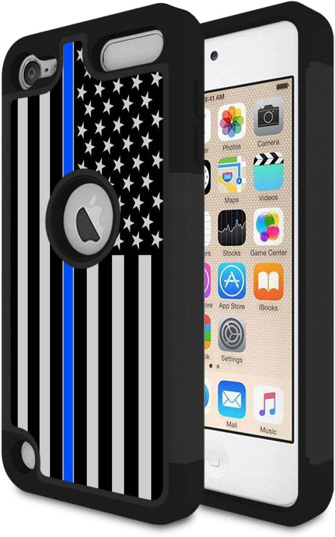 iPod Touch 6 funda, iPod Touch 5 caso, Rossy delgada línea azul nosotros bandera diseño resistente Shock-absorción híbrido doble capa Armor Defender carcasa protectora Cove para Apple iPod Touch 5 6th Generation: