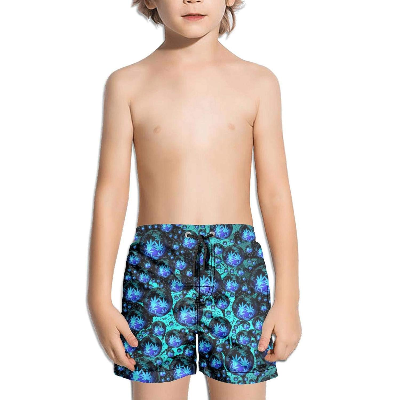 Kid Marijuana Weed Leaf Beach Shorts Surf Training Knee Length Boardshorts