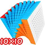 10×10×10 超難度スピードキューブ WCA世界キューブ協会認定ブランド シール剥がれの無いカラープラスチック製 ウルトラスムーズ回転 硬さ調整可能 ステッカーレス 軽量 キュービックパズル 立体パズル 脳トレ 知育玩具 頭の体操 手先のトレーニング (カラープラスチックモデル)