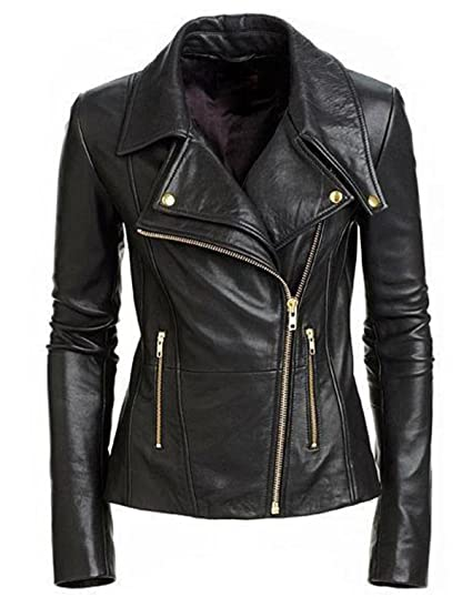 0495003a3 New Women's Black Slim Fit Biker Style Moto Real Leather Jacket at ...