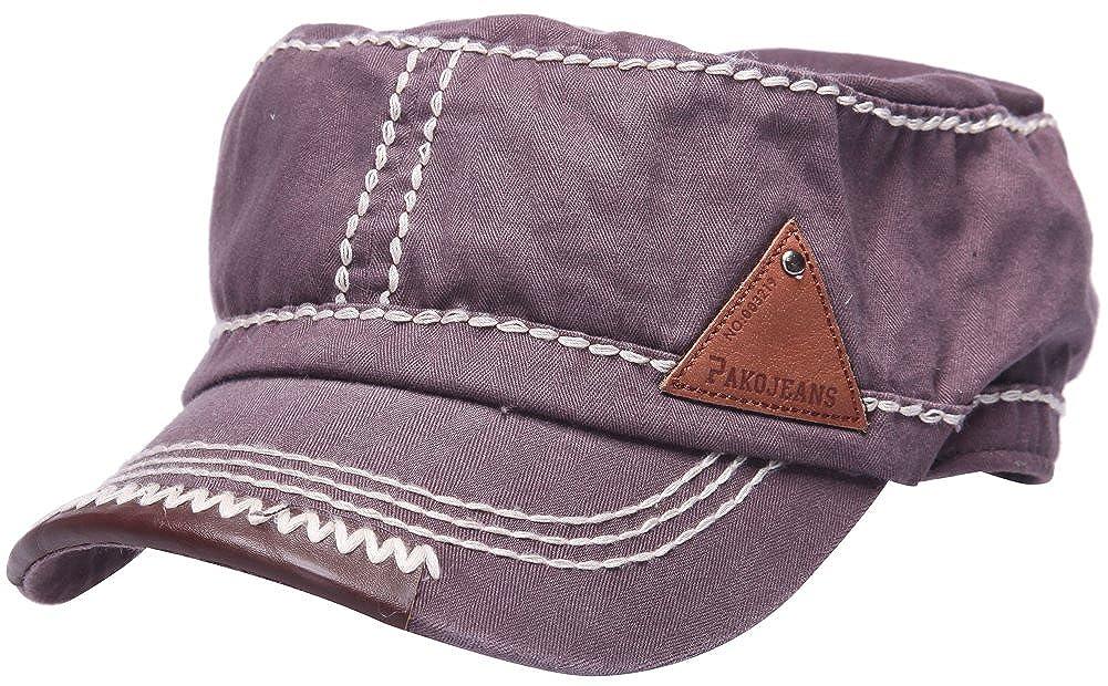 Herren klassische Armee Stern sticken Kappe Militärlager Sonne snapback flach Hut (grau) CAP-215