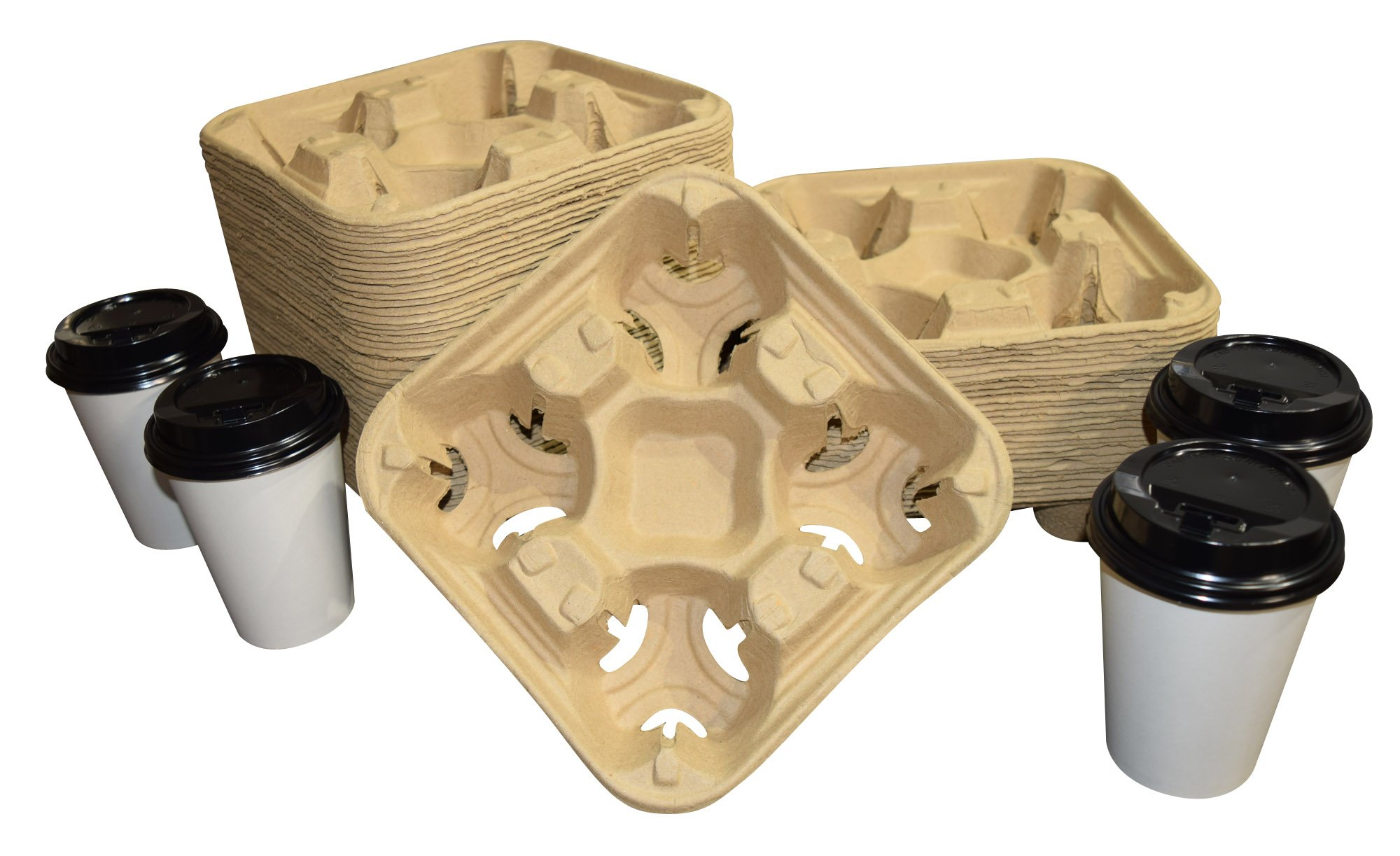 Biodegradable Pulp Fiber 4-Cup Drink Carrier Tray/Holder for Cold or Hot Drinks - Set of 75