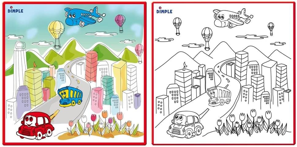 Kids Small Washable Coloring Play Mat with Bustling City Life Design Along with 12 Washable Markers /'The Perfect Alternative for Coloring Books/' Great for Boys /& Girls by Dimple