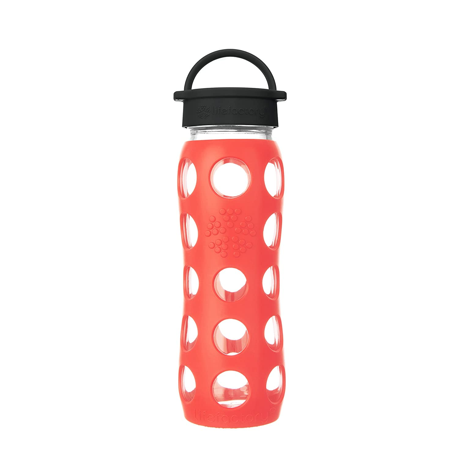Lifefactory 22-Ounce BPA-Free Glass Water Bottle with Classic Cap and Silicone Sleeve Onyx LF230214C4