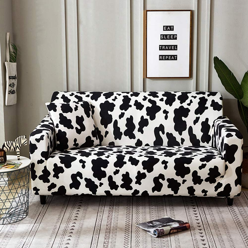 GE&YOBBY Cartoon Stretch Sofa Cover,Cow Pattern Sofa Slipcover,Creative Elastic Imitation Cow Sofa Cover for Chair Loveseat Sofa Lounge Chair Protection A 4 Places