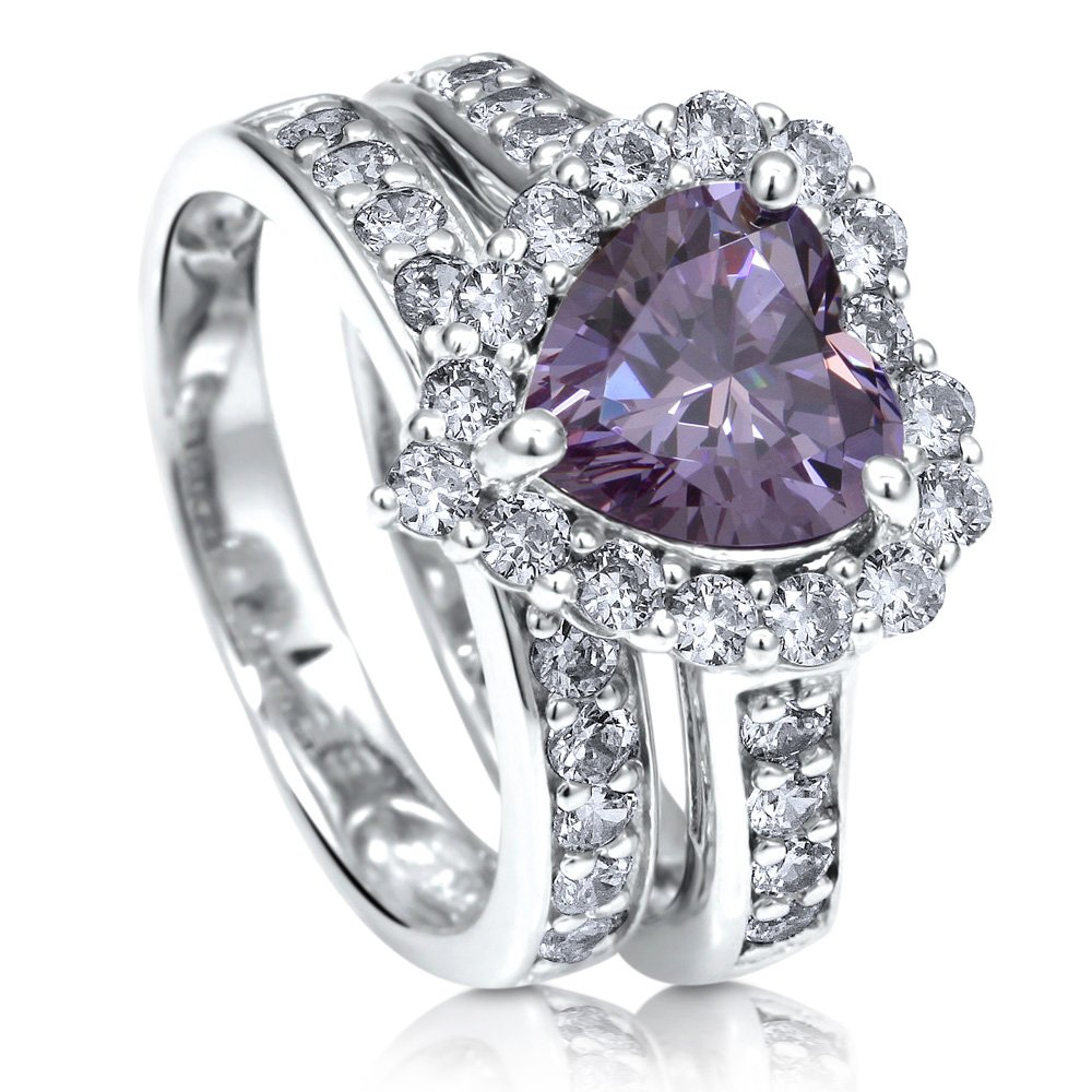 BERRICLE Rhodium Plated Silver Heart Shaped Purple Cubic Zirconia CZ Halo Engagement Ring Set Size 6