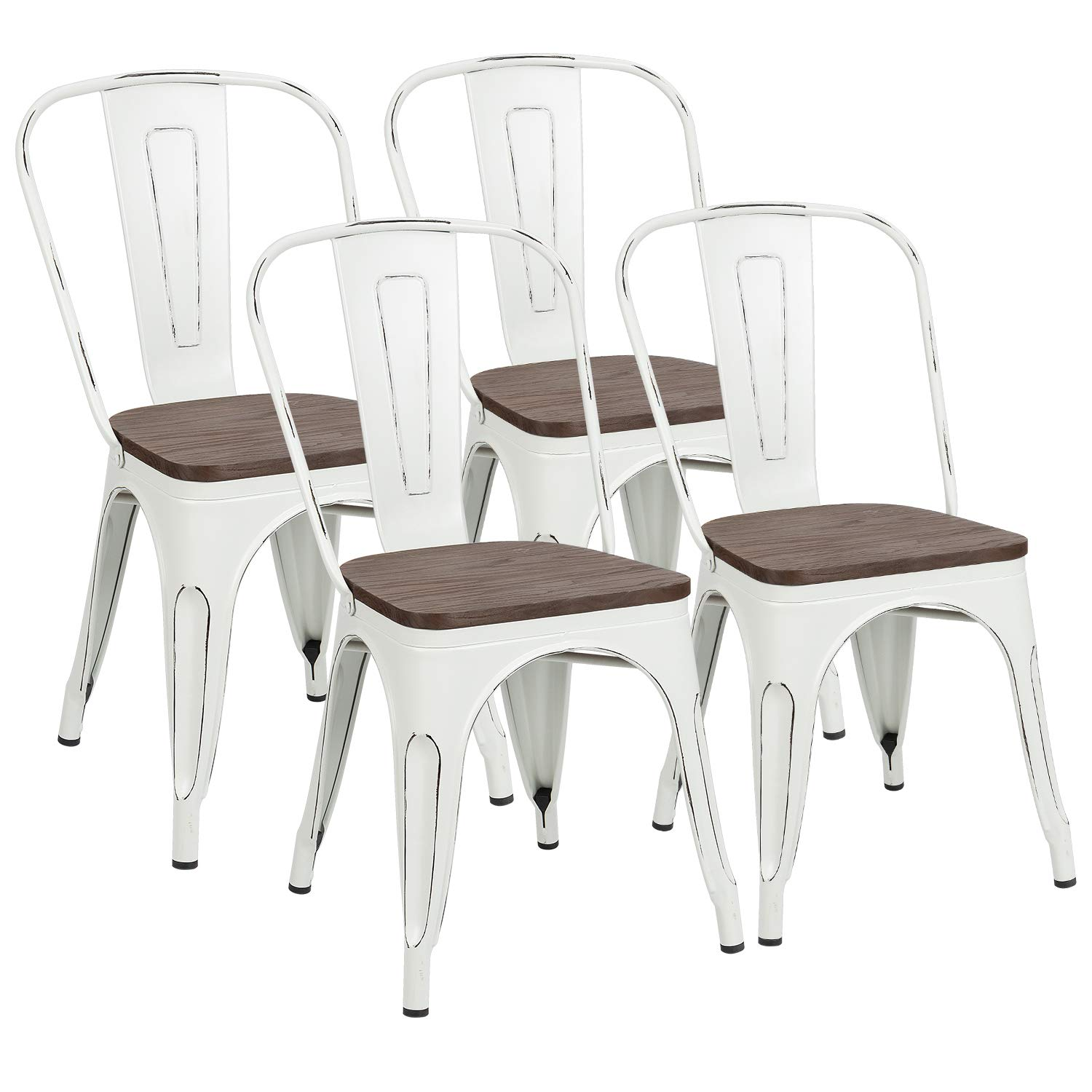 Metal Dining Chairs with Wood Seat, Tolix Style Indoor-Outdoor Stackable Industrial Chair with Back Set of 4 for Kitchen, Dining Room, Bistro and Cafe (White)