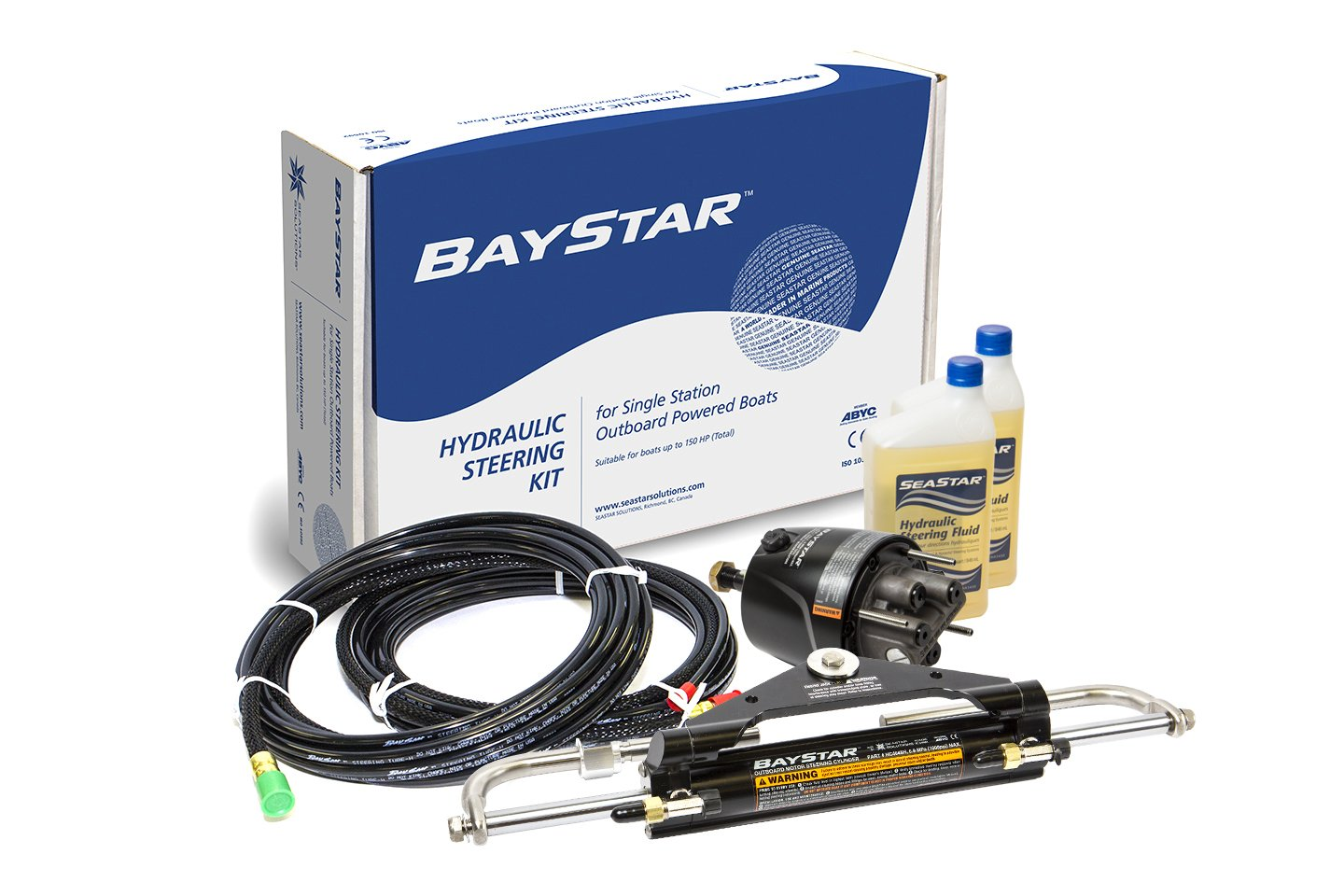 Baystar Kit, HK4200A-3, Hydraulic Steering Kit with Compact Cylinder with 20' Tubing by SeaStar