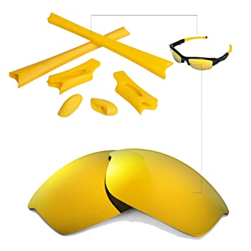 a8808b012f Walleva 24K Gold Polarized Lenses And Yellow Rubber Kit For Oakley Flak  Jacket