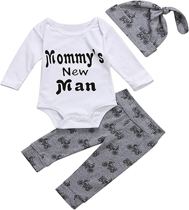 2f4fc8218 Amazon.com  3PCS Toddler Kids Baby Boys Outfits Mommy s New Man ...