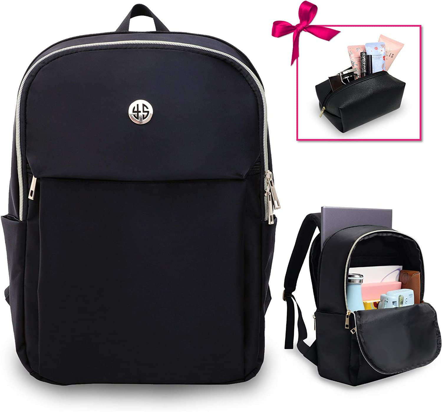 Water Repellent Durable Nylon Versatile Simple Design School For Work Ladies Lightweight Daypack Womens Casual Slim Laptop Backpack Holds 14 Laptop Includes Makeup Bag Zippered /& Secure Pockets