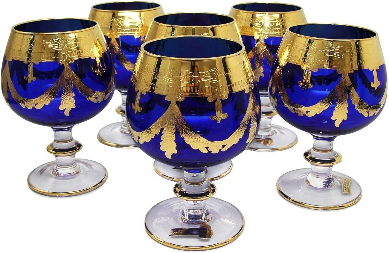 Interglass Italy Set Of 6 Crystal Glasses 24k Gold Plated Cognac Snifters Blue Mixed Drinkware Sets