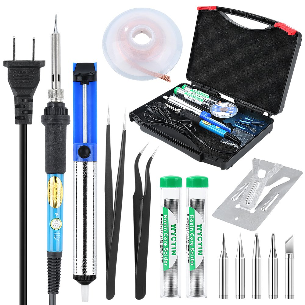 Soldering Iron Kit Electronic, WYCTIN 60W 110V Adjustable Temperature Welding Iron, Desoldering Wick, 5pcs Soldering Iron Tips,Desoldering Pump, 2pcs Solder, 2pcs Tweezers, Stand with Tool Carry Case