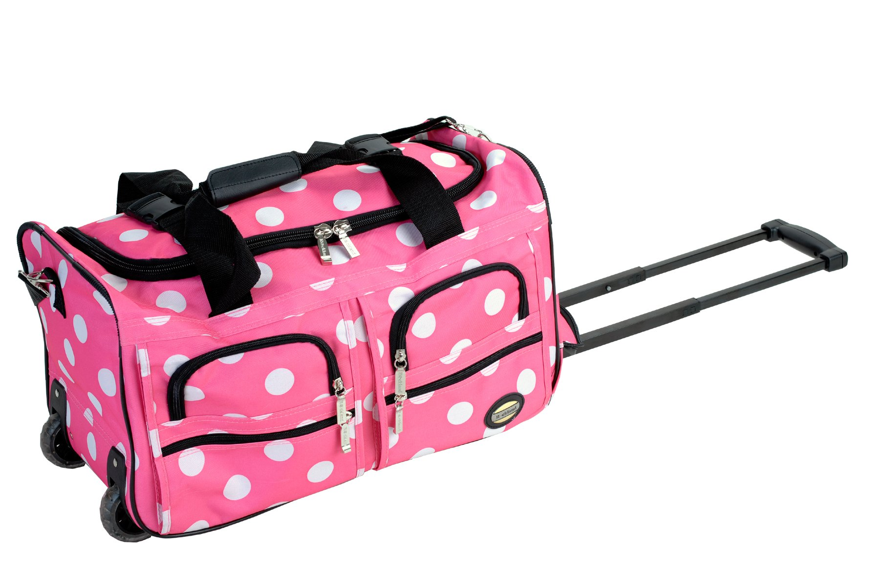 Rockland Luggage Rolling 22 Inch Duffle Bag, Pink Dot, One Size