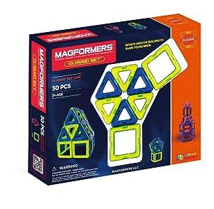 Magformers Classic (30-pieces) Set MagneticBuildingBlocks, EducationalMagneticTiles Kit , MagneticConstructionSTEM Toy Set