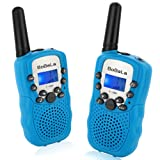 Bobela T388 Best Cheap Walkie Talkies as Festival Birthday Gifts for Boys Men / 2 Way Radio Toys for Kids Camping / Hands Free Wireless Woki Toki with Lamp for Family Elderly Fishing ( Blue 2 Pack )