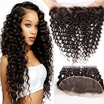 46d7cea94 Amazon.com : Jolia Hair 10A Brazilian Deep Wave Frontal Free Part 13x4 Lace  Frontal Closure One Piece Only Ear to Ear Deep Curly Frontal Unprocessed  Human ...