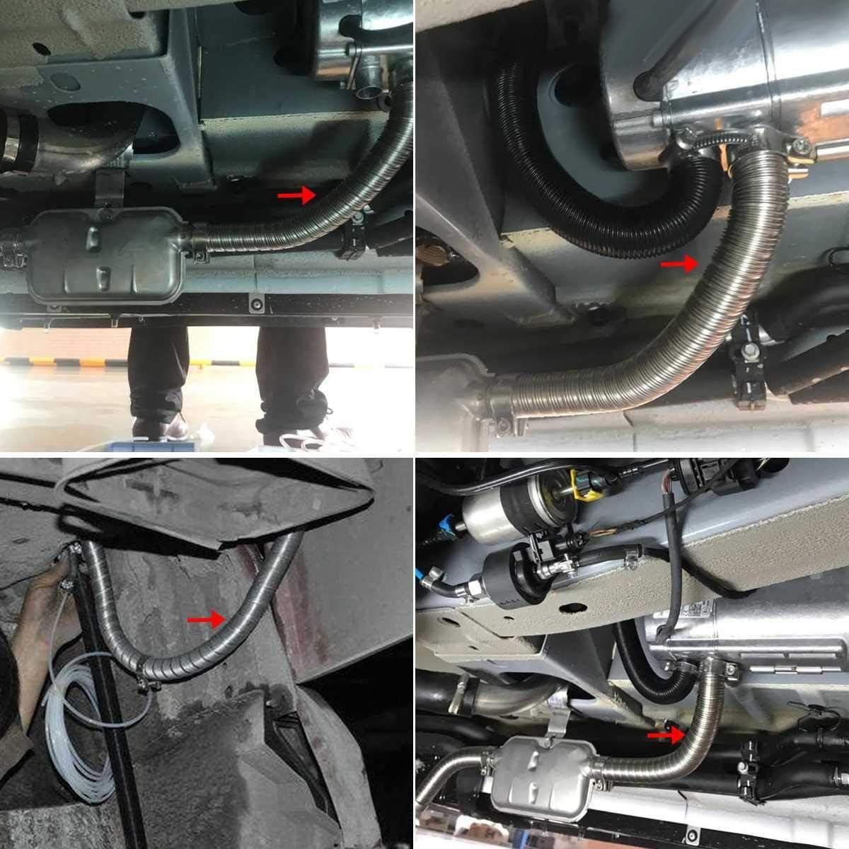 Semoic 200Cm Auto Luft Standheizung Auspuff Rohr mit 2 Schellen Kraftstofftank Auspuffrohr Schlauch f/ür Roh ?L Heizung
